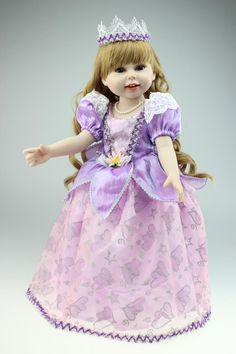 58.46$  Buy now - http://aliuk2.worldwells.pw/go.php?t=32326380215 - 45cm New Vinyl Handmade Baby Doll Toys Lifelike American Girl Dolls Purple Princess Baby Home Doll Birthday Gift