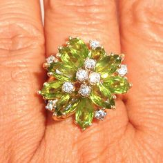 Vintage 14k Gold 6.5CTTW Peridot & Diamond Lady's Cluster Cocktail Ring Fine #Flower #Waterfallcocktail