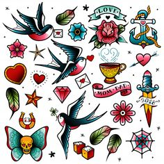 These temporary Traditional Retro tattoos are printed in gorgeous bright colours. - My Pintrest - - These temporary Traditional Retro tattoos are printed in gorgeous bright colours. These temporary Traditional Retro tattoos are printed in gorgeous . Kunst Tattoos, Maori Tattoos, Fake Tattoos, New Tattoos, Cool Tattoos, Old Style Tattoos, Retro Tattoos, Trendy Tattoos, Rockabilly Tattoos