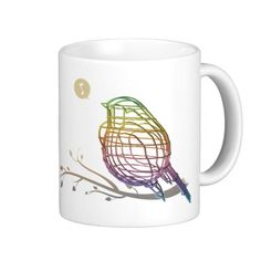 rainbow color wire bird mug