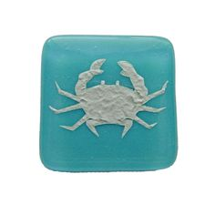 Crab Fused Glass Cabinet Knob for Kitchen or Bathroom Beach Decor. Turquoise glass knobs in variety of colors by Uneek Glass Fusions. http://etsy.me/2CfIYoQ #supplies #blue #seaglassknobs #beachglassknob #fusedglas