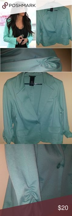METAPHOR MINT GREEN BLAZER SZ XL THIS CUTE LITTLE JACKET IS JUST IN TIME FOR ST. PATS!  IT IS SUPER CUTE WITH IT'S GATHERED SLEEVE AND IN SUPER GREAT CONDITION!  STYLE PHOTOS OF SIMILAR  STYLE TO SHOW STYLING OPTIONS AND CUTENESS! Metaphor Jackets & Coats