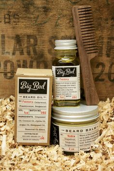 Big Red Beard Kit  The Threesome by BigRedBeardCombs on Etsy - Cherry no. 7 Comb / Factory Oil