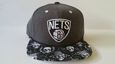 Mitchell and Ness NBA Brooklyn Nets Custom Snapback Cap Hat Skulls ** Read more reviews of the product by visiting the link on the image.