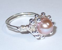 Blush Pink Pearl Ring Silver Wire Wrapped Ring by livelovebead, $34.00
