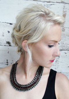 "Get the HOW TO create this perfectly ""Stitched"" updo from Graziella Lembo of Salon Capri, Boston, Mass."
