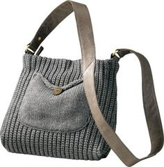 UGG Crossbody Bag - bet I could DIY this. Looks like its knit with larger needles in the body of the bag (1k 1p rib) then smaller ones for the front pouch. Very cute!