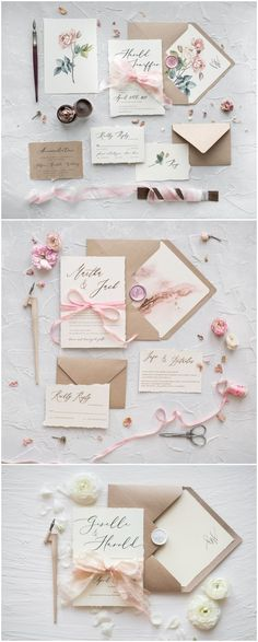 Rustic kraft paper calligraphy wedding invitations
