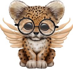 Cute Leopard Cub with Fairy Wings Wearing Glasses | Jeff Bartels
