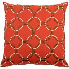 @Overstock - Add a touch of shocking color and stylish design to your bed or couch with this Coventry pillow. Circles of ivory and brown link on top of the lush rust red background of this handsome accent pillow that is sure to complement any decor.  http://www.overstock.com/Home-Garden/Coventry-Red-Brown-Geometric-Decorative-Pillow/6444253/product.html?CID=214117 $39.49