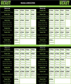 Body Beast workout tracker sheet