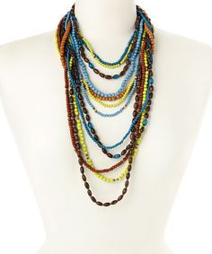Love this Silver & Blue Wood Beaded Layered Necklace on #zulily! #zulilyfinds