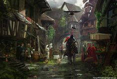 Want to discover art related to medieval? Check out inspiring examples of medieval artwork on DeviantArt, and get inspired by our community of talented artists. Fantasy Town, High Fantasy, Fantasy World, Fantasy Village, Medieval City, Medieval Fantasy, Medieval World, Fantasy Concept Art, Fantasy Places