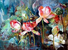 Lotus Painting, Rose Oil Painting, Flower Painting Canvas, Flower Art, Art Drawings, Beautiful Pictures, Alice, Wallpaper, Cute