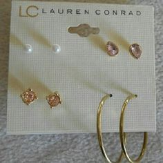 Feminine Earring Set Cute colours, sparkles and gold! This earring set is for you! Bundle and save!  Feel free to comment, like, share, bundle, and / or negotiate! ?? ?? ?? Thanks! ?? ?? Lauren Conrad  Jewelry Earrings