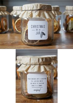 Christmas in a Jar ~ 5 cinnamon sticks 1 dried lemon slice 1 dried orange slice 1/2 cup whole cloves 1 tbs. nutmeg 1/4 cup whole allspice 1 tbs. bay leaf pieces 3 dried apple slices Combine ingredients. Add water to simmer on stovetop.