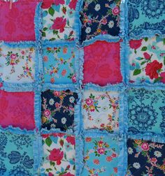 Happy Land  Baby Girl Rag Quilt with Minky by sweetbabyjamie, $65.00