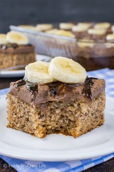 Best Banana Cake - a creamy hot fudge frosting makes this easy banana cake the best cake ever! Great recipe to use up ripe bananas!