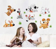 [Visit to Buy] kawaii little dogs wall stickers decals kids animated animals removal vinyl wallpaper girls boys home bedroom nursery DIY decor #Advertisement