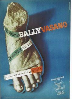 Original vintage poster BALLY VASANO SHOES MARBLE FEET c.1950   eBay