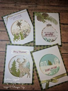 October 2017 Pining for Plaid Christmas Cards 2017, Stamped Christmas Cards, Homemade Christmas Cards, Stampin Up Christmas, Merry Little Christmas, Christmas Gift Tags, Christmas Paper, Xmas Cards, Homemade Cards