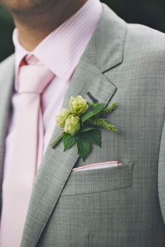 Hops boutonniere - Vancouver Backyard Wedding from The Apartment Photography
