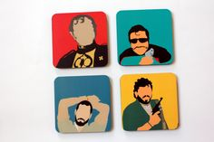 #GABAMBO.  Tables are scared of commitment. Use these coasters to keep them away from rings!  A set of 4 bright coasters.  Available at www.gabambo.com