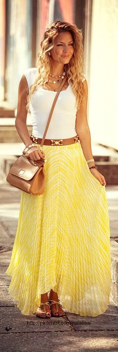 DOLCE & GABBANA bag, white top, knife pleated yellow & white maxi skirt & sandals.