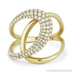 0.55 ct Round Cut Diamond Right-Hand 14k Yellow Gold Overlap Loop Fashion Ring #Unbranded #Statement