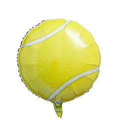 This Tennis Ball Mylar Balloon has the look of a real tennis ball with its bright yellow and white background. Each tennis ball balloon measures 18 inches in diameter.