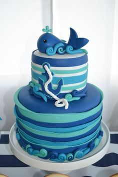 Nautical parties are such a popular trend and they especially make a great baby shower theme. This whale themed baby shower is such a fun twist, and the darling details are sure to delight! Baby Shower Cakes, Baby Shower Parties, Baby Shower Themes, Baby Boy Shower, Shower Ideas, Baby Showers, Baby Party, Whale Birthday Parties, Baby Boy First Birthday