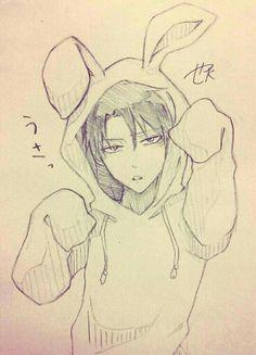 levi in a bunny onesie