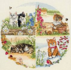 Cats & Seasons Cross Stitch Kit £27.00 | Past Impressions | Anchor
