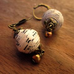 Earrings Recycled Paper Bead and Pearl Dangle by studioRenee
