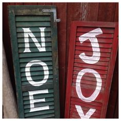 Vintage shutter Christmas porch signs