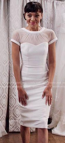 Camille's white illusion dress on Bones.  Outfit Details: https://wornontv.net/58270/ #Bones