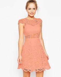 ASOS | ASOS Lace Mini Prom Dress With Bra Top at ASOS
