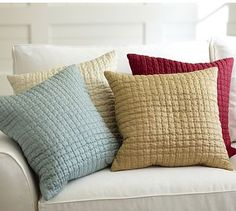 DIY these = Christmas pillow covers!  Hand-Quilted Silk Pillow Cover #potterybarn