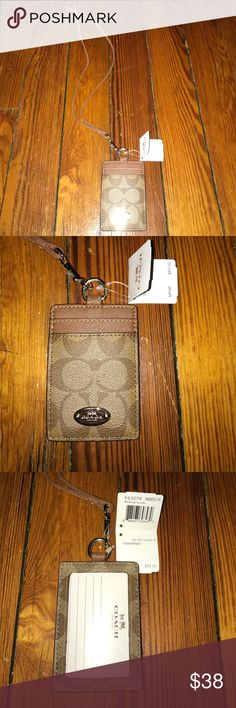 Coach Lanyard ID Case Coach Lanyard ID Case - Khaki Coach Accessories Key & Card Holders