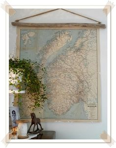 map/stick/string...perfect - would look good in the library / guest room