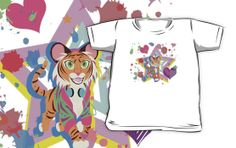#tiger #cub #colorful #hearts #paint #music #shirt #kids