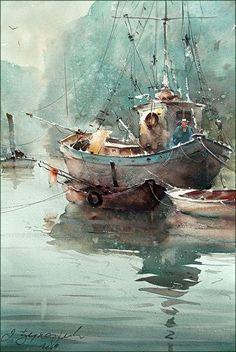 Dusan Djukaric   Watercolor, 36x54 cm: