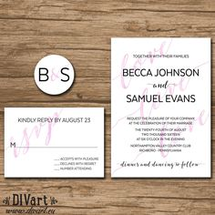 Watercolor Wedding Invitation Suite, Response Card, Monogram - PRINTABLE files - romantic wedding, watercolor - Becca by DIVart on Etsy