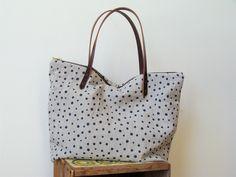 handprinted polka dot linen tote.