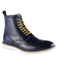 #navy #leather #wingtip #boots #yellowlaces