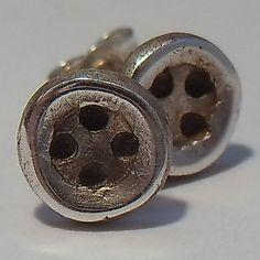 Silver Button Stud Earrings