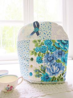 Tea cosy teapot coffee pot patchwork blue turquoise by poppyshome, €30.00