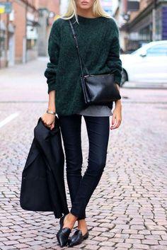 Deep Green Long Sleeved Furry & Cozy Sweater