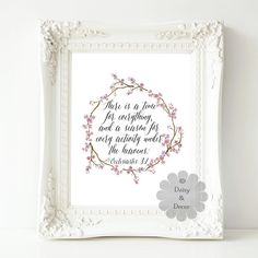 Items similar to Ecclesiastes There is a time for everything - Bible verse, Scripture print, Christian quote, Typography print, wall decor love wedding on Etsy Typography Prints, Quote Typography, Ecclesiastes 3, Christian Quotes, Bible Verses, Prayers, Wall Decor, Art Journaling, Handmade Gifts