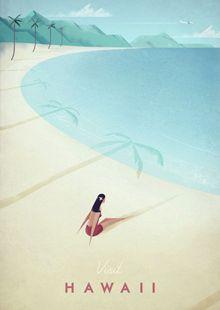 Hawaii vintage travel poster of a retro girl sunbathing on a beach. Original Hawaii vintage travel poster by Henry Rivers. Buy a premium art print! Retro Poster, Vintage Travel Posters, Vintage Ski, Vintage Style, Logo Vintage, Vintage Room, Vintage Party, Wedding Vintage, Vintage Artwork